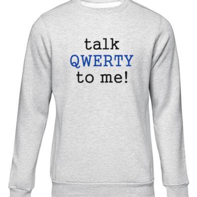 talk qwerty to me grey sweater