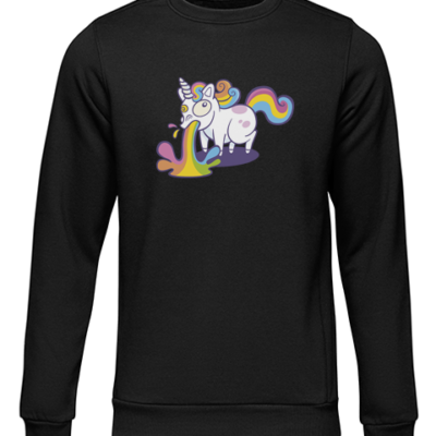 unicorn puke black sweater