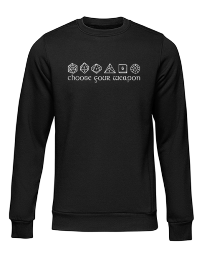 choose your weapon black sweater