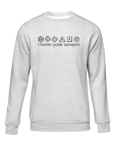 choose your weapon grey sweater