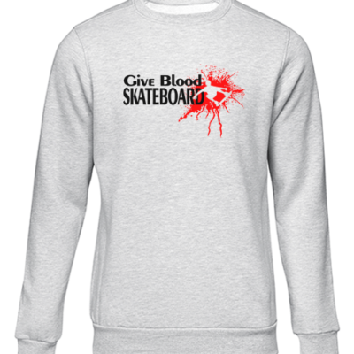 give blood skateboard grey sweater