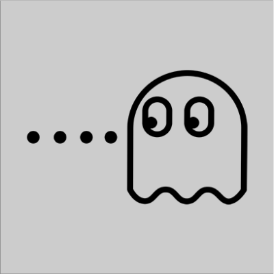 pacman ghost grey square