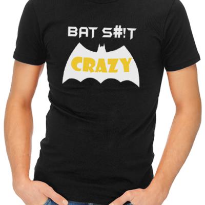 bat crazy mens tshirt black