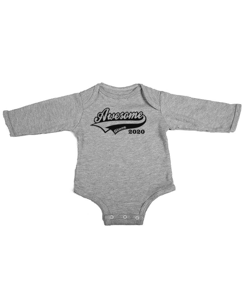 awesome since 2020 baby grey long sleeve