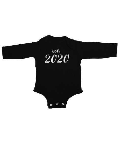 established 2020 baby black long sleeve