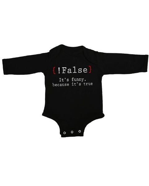 false its funny baby black long sleeve