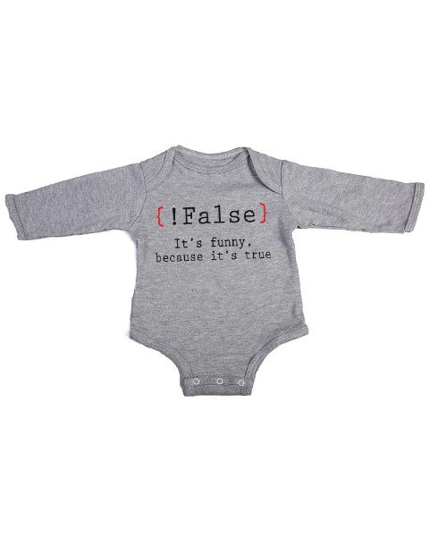 false its funny baby grey long sleeve