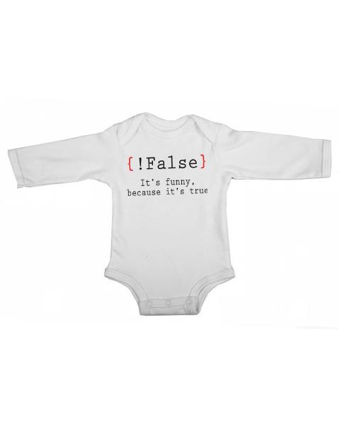 false its funny baby white long sleeve