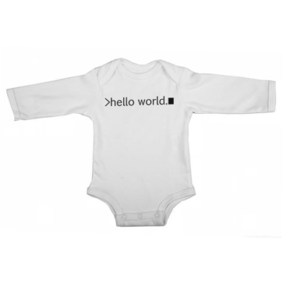 hello world baby white long sleeve