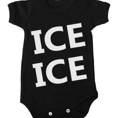 ice ice babygrow onesie black short sleeve