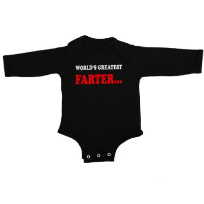 worlds greatest farter baby black long sleeve
