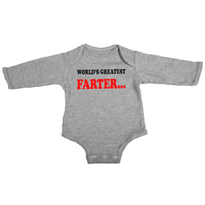 worlds greatest farter baby grey long sleeve