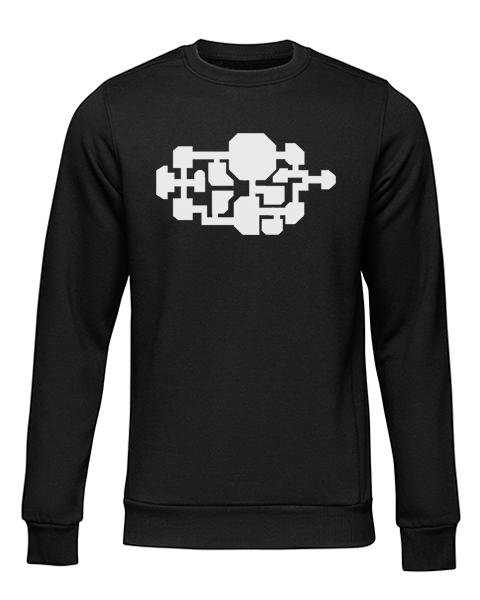 spaceship map black sweater