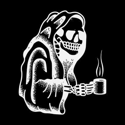 Coffee Skull black square