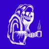 Coffee Skull blue square