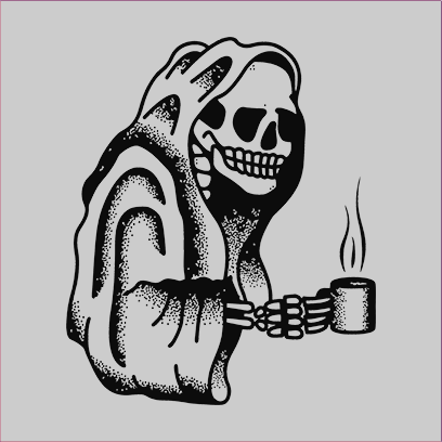 Coffee Skull grey square