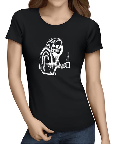 Coffee Skull ladies tshirt black