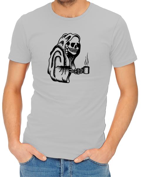 Coffee Skull mens tshirt grey