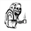 Coffee Skull white square