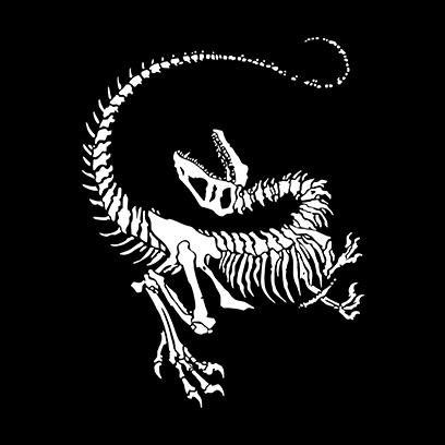 Dinosaur Skeleton black square