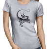 Dinosaur Skeleton ladies tshirt grey