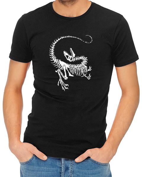 Dinosaur Skeleton mens tshirt black