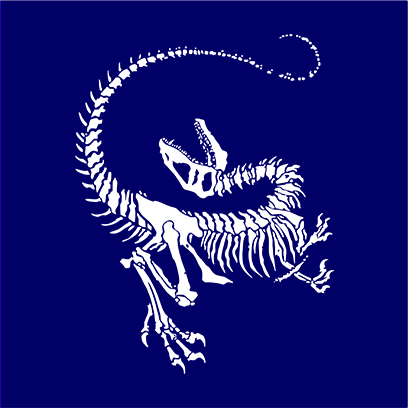 Dinosaur Skeleton navy square