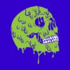 Melting Skull blue square