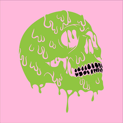 Melting Skull pink square