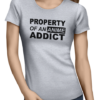 anime addict ladies tshirt grey