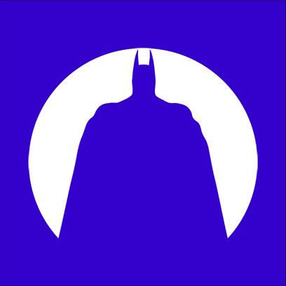batman circle silhouette blue square
