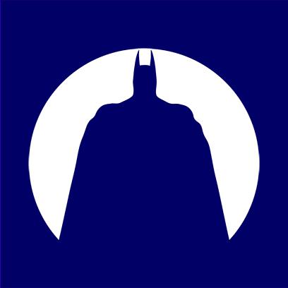 batman circle silhouette navy square