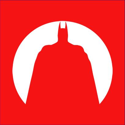 batman circle silhouette red square