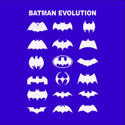 batman logo evolution blue square