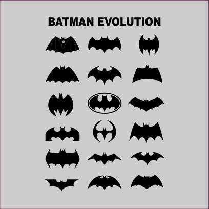 batman logo evolution grey square