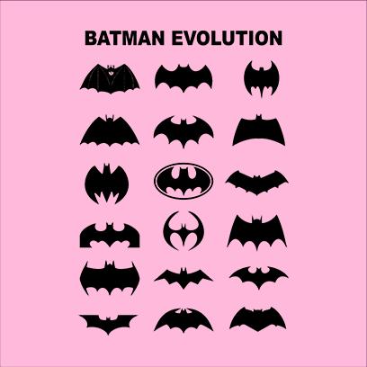 batman logo evolution pink square