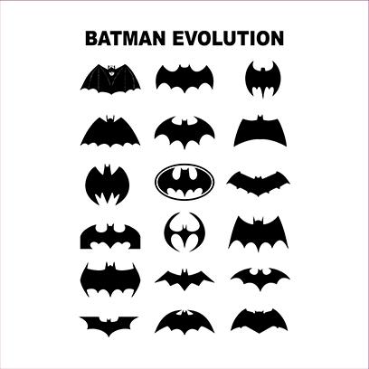 batman logo evolution white square