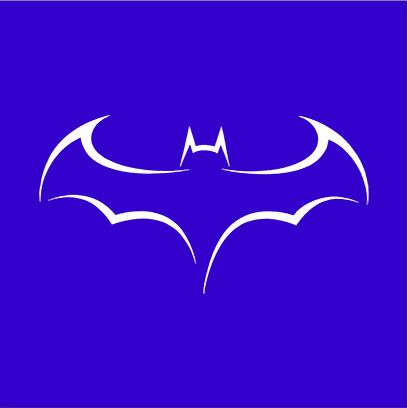 batman outline logo blue square