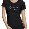 batman outline logo ladies tshirt black