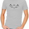 batman outline logo mens tshirt grey