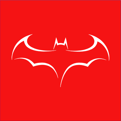 batman outline logo red square