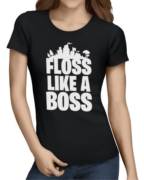floss like a boss ladies tshirt black