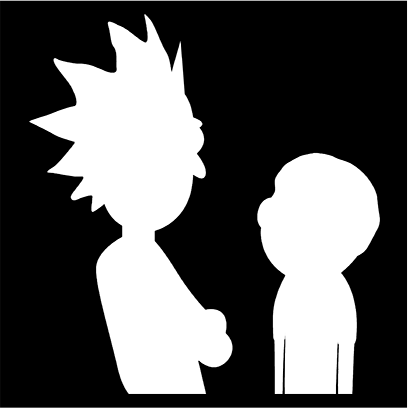 morty and rick silhouette black square