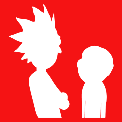 morty and rick silhouette red square