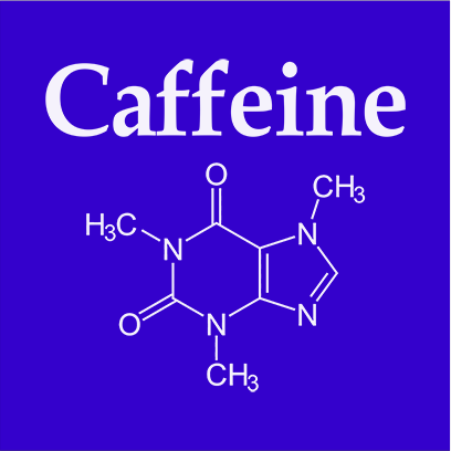 caffeine molecule blue square