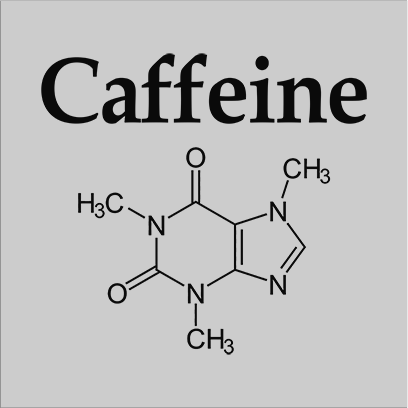 caffeine molecule grey square
