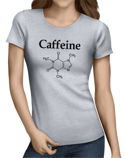 caffeine molecule ladies tshirt grey