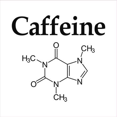 caffeine molecule white square