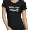 coffee blood type ladies tshirt black