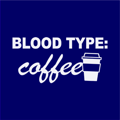coffee blood type navy square